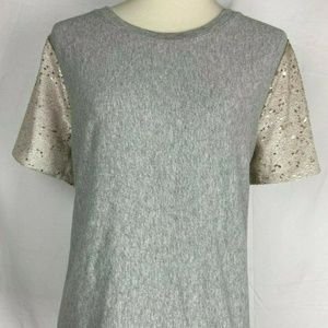 A New Day Womens Blouse Size XL Gray Gold Sequin